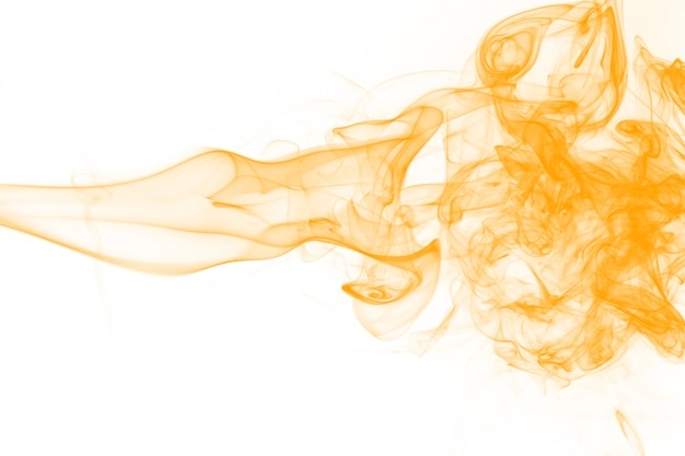 Gelbe rauchzusammenfassung auf weißem hintergrund, tintenwasser