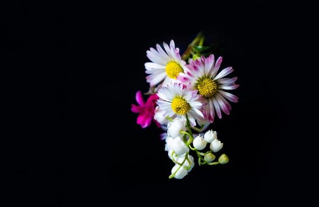 Gelbe rosa geschenkfrühlingsblumen kopieren raum schwarzen hintergrund