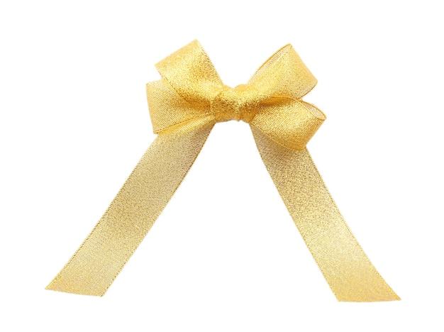 Gelbe seidenbandschleife isoliert auf weiß