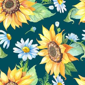 Gelbe sonnenblume, weiße kamille auf blau