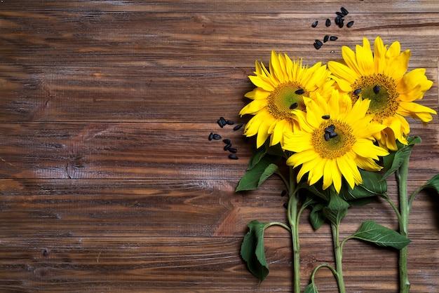 Gelbe sonnenblumen auf hintergrund des alten zauns.