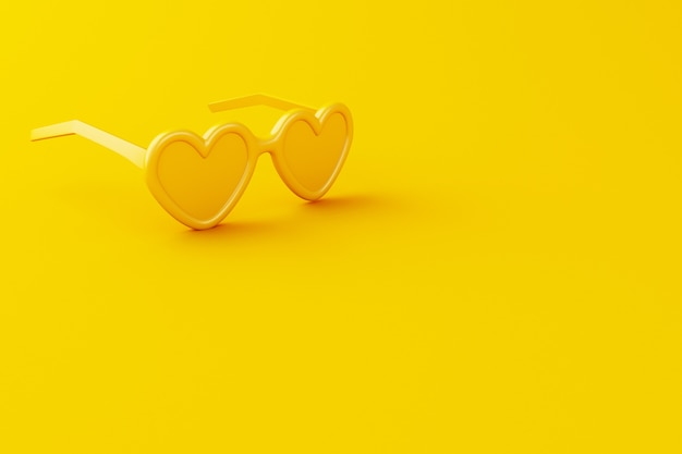 Gelbe sonnenbrille der nahaufnahme 3d auf gelbem hintergrund.