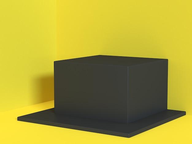 Gelbe szene ecke wand-boden schwarzes quadrat würfel minimale gelbe abstrakte 3d-rendering
