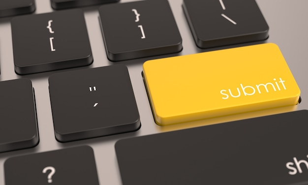 Gelbe taste zum senden der taste auf der computertastatur zulassungsabgabe oder symbol anwenden geschäftskonzept