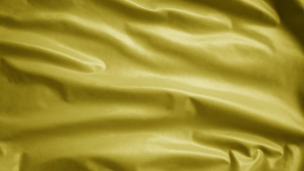 Gelbe textiltuchflagge, hintergrundzusammenfassung mit weichen wellen. quebec, auch yellow jack genannt, war früher an einem strand vorsichtig mit wasser water