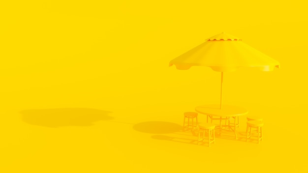 Gelbe tisch und regenschirm minimale farbe.