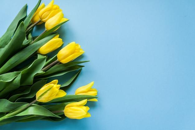 Gelbe tulpen auf blauem copyspace hintergrund