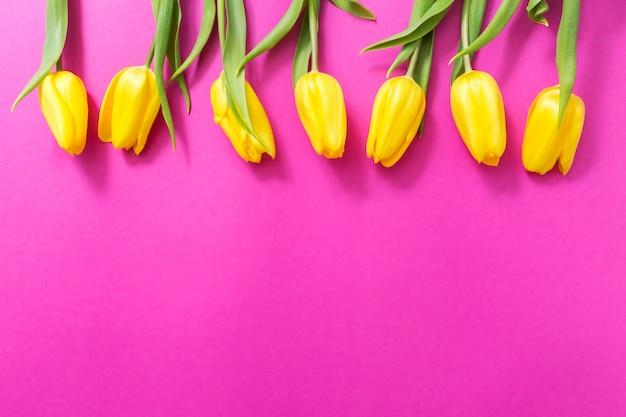 Gelbe tulpen auf rosa. blumenrahmen