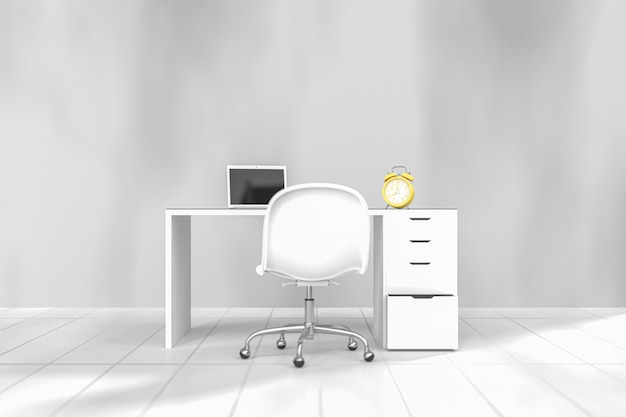 Gelbe uhr auf arbeitsschreibtisch auf weiß