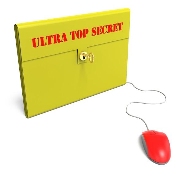 Gelbe ultra top secret aktentasche mit computermaus