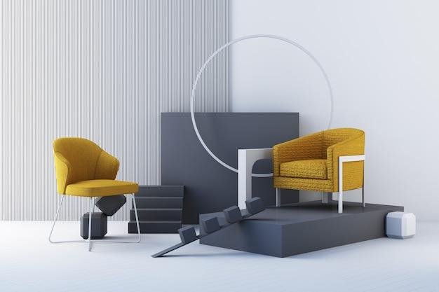 Gelbe und graue farbstühle, sofa, sessel im leeren hintergrund. umgeben von geometrischer form konzept des minimalismus & installationskunst. 3d-rendering-modell