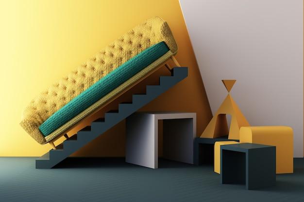 Gelbe und grüne farbstühle, sofa, sessel im leeren hintergrund. umgeben von geometrischer form konzept des minimalismus & installationskunst. 3d-rendering-modell