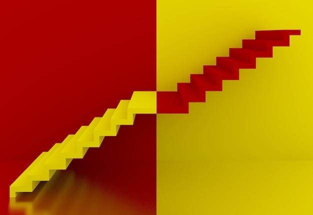 Gelbe und rote treppe im innenraum, 3d
