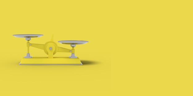 Gelbe waage auf gelbem grund. abstraktes bild. minimales konzeptgeschäft. 3d-rendering.