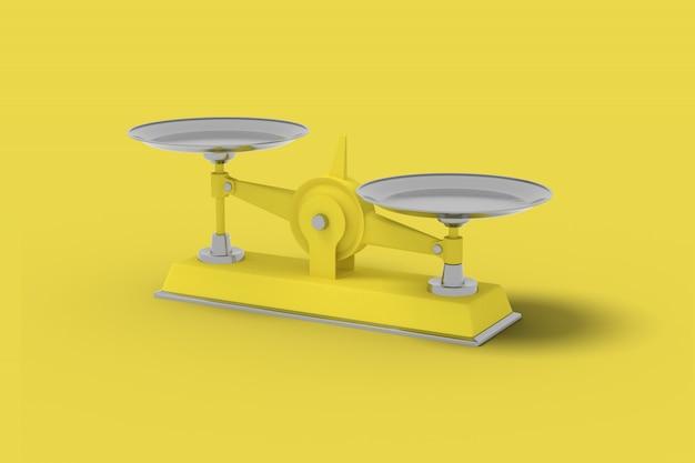 Gelbe waage auf gelbem grund