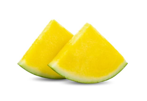 Gelbe wassermelonenscheiben isoliert