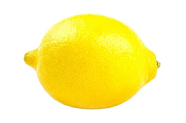 Gelbe zitronenzitrusfrucht getrennt auf weiß
