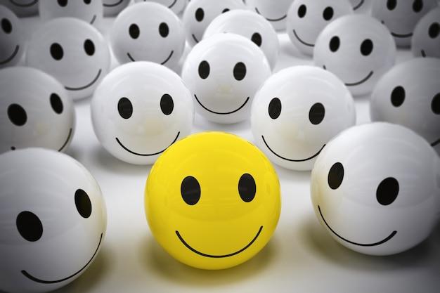 Gelben ball mit smiley unter so vielen weißen lächelnden bällen rendern. glücklicher führer unterstützt sein team