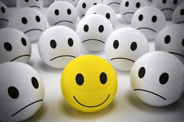 Gelben ball mit smiley unter so vielen weißen traurigen bällen rendern. glücklicher führer unterstützt sein negatives team