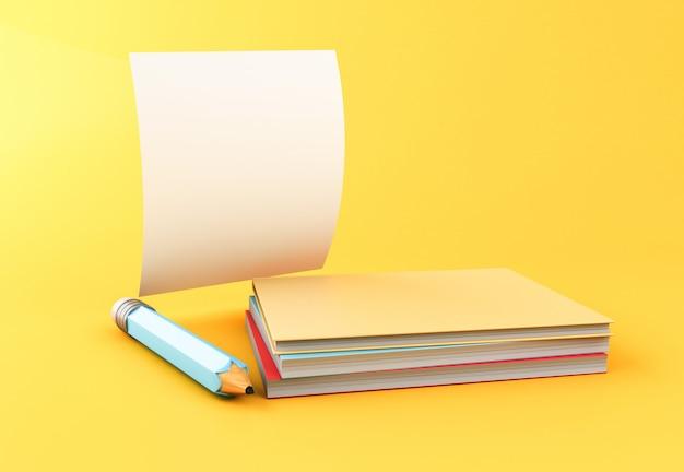 Gelber bleistift 3d mit leerem blatt papier