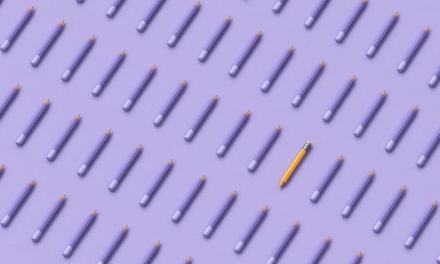 Gelber bleistift hervorragend unter lila bleistifthintergrund
