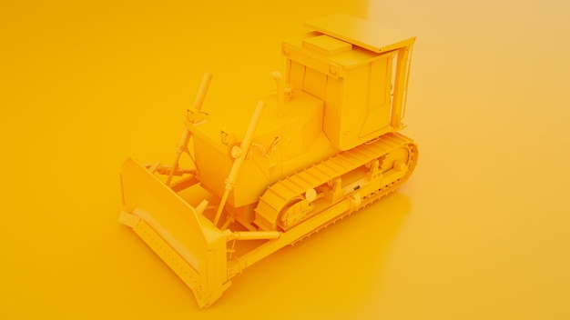 Gelber bulldozer. minimales ideenkonzept. 3d-illustration.