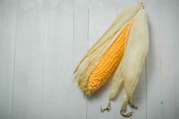 Gelber bunter maiskolben auf dem weiß