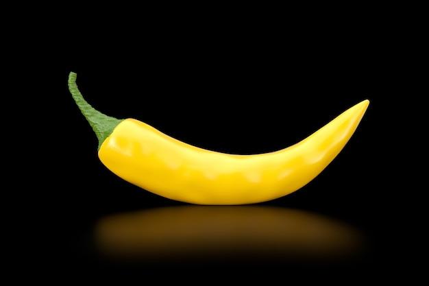 Gelber chili pepper auf schwarzem hintergrund. 3d-rendering