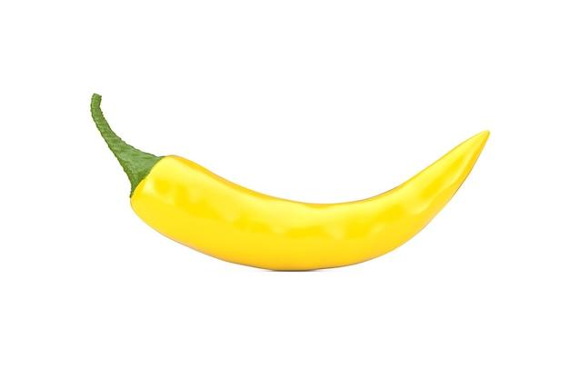 Gelber chili-pfeffer auf weißem hintergrund. 3d-rendering
