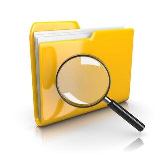 Gelber dokumentenordner mit lupe