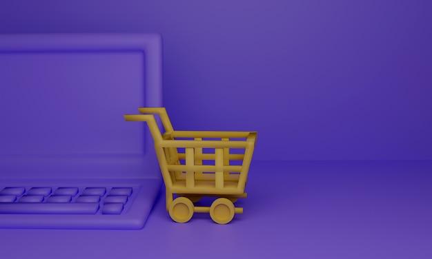 Gelber einkaufswagen mit laptop-computer auf lila oberfläche