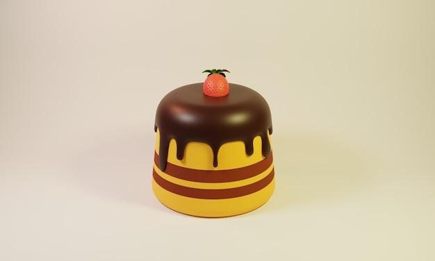 Gelber geburtstagskuchen illustration 3d-design mit erdbeeren an der spitze
