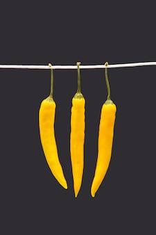Gelber heißer chili auf einem dunklen. pfeffer. pflanzliche vitaminnahrung.