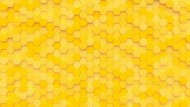 Gelber hexagonbeschaffenheitshintergrund. 3d render.