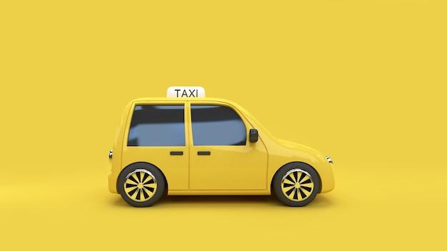 Gelber hintergrund 3d-rendering eco auto taxi transport