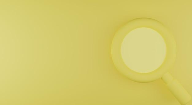 Gelber hintergrund der lupe 3d. suche 3d-darstellung. 3d-rendering