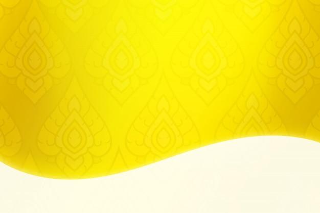Gelber hintergrund der thailändischen kunstillustration mit weißem kopienraum.