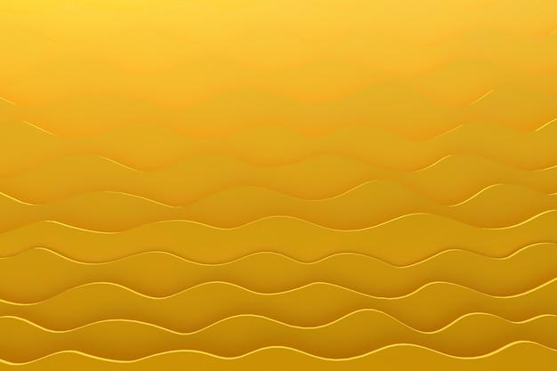 Gelber hintergrund des 3d-rendering-papierschnittwellenmusters für hintergrund