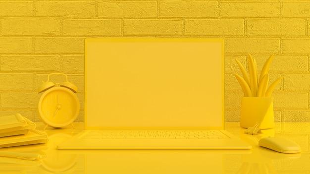 Gelber hintergrund des laptopmodells auf arbeitsschreibtisch mit mäusenotizbuchuhr und baumgelbfarbe. 3d rendern