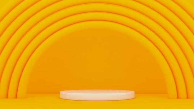 Gelber hintergrund mit bögen um einen sockel