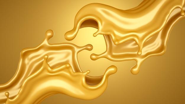 Gelber hintergrund mit einem schuss karamell. 3d-illustration, 3d-rendering.