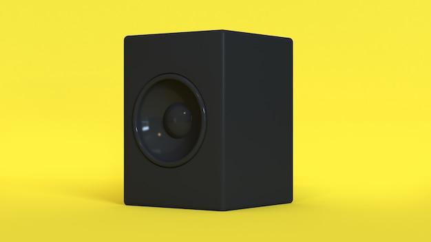 Gelber hintergrund schwarze runde wiedergabe des lautsprechers 3d