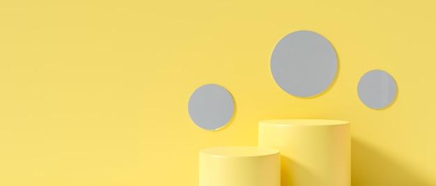 Gelber hintergrundzusammenfassung. 3d-rendering für leere bühne, tischverkaufsbanner.