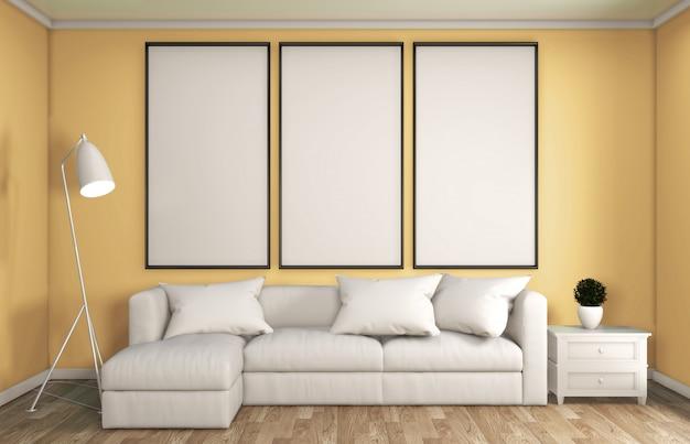 Gelber japanischer stil der wohnzimmerdekoration