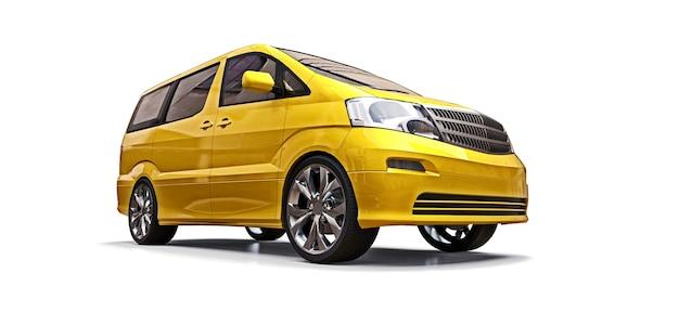 Gelber kleiner minivan für den personentransport