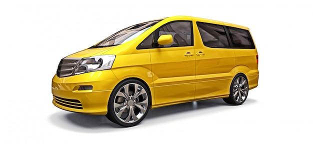 Gelber kleiner minivan für personentransport. dreidimensionale darstellung auf einem weißen hintergrund. 3d-rendering.