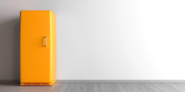 Gelber kühlschrank + retro-kühlschrank in einem leeren raum - 3d illustration
