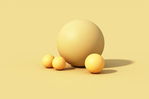 Gelber kugelball auf gelbem hintergrund. 3d rendern