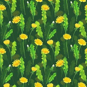 Gelber löwenzahn und grüne blätter nahtloses muster auf grünem hintergrund. wiederholen sie den sommerblumendruck. farbstifte wildblumen ornament.