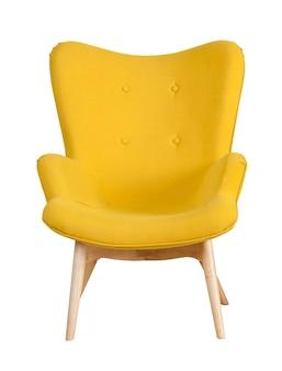 Gelber moderner stuhl lokalisiert auf weiß